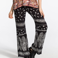 Patrons Of Peace Bandana Print Womens Pants Black  In Sizes