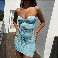 Low-cut strap V-neck pleated hip dress