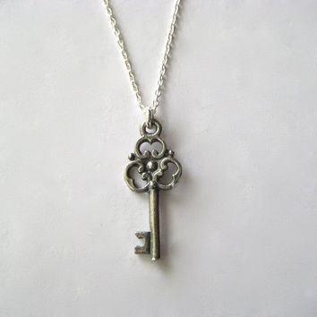Skeleton Key Necklace, Key Necklace, Rustic Jewelry, Antique Style