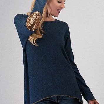 Sparkling Elbow Patches Top - Navy