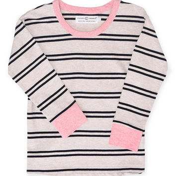 Heather Oat & Black Grace Organic Drop-Shoulder Tee - Toddler & Girls