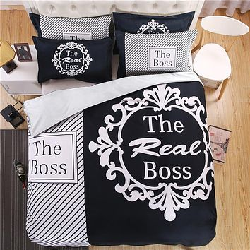 "In 3D Bed Set Grated Asymmetrical ""The Real Boss"" King Size Black And White."