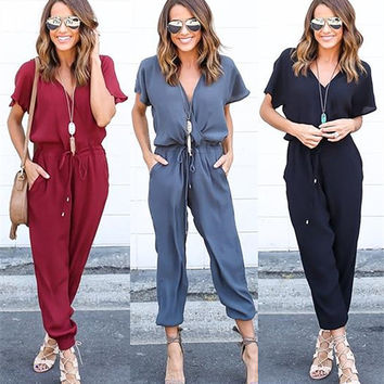 Fashion 2017 New Summer Red Black Jumpsuit Women Long Sleeve Fashion Club Jumpsuits Fashion Bodycon Long section Women Jumpsuit