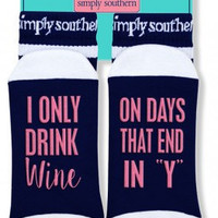 """Simply Southern """"I Only Drink Wine"""" Socks - Navy"""