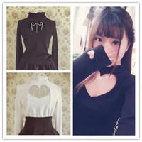 S/M Black/White Japanese Open Chest Heart Out Long Sleeve Shirt SP152256