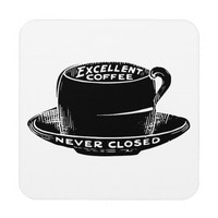 Vintage cafe coffee sign coaster