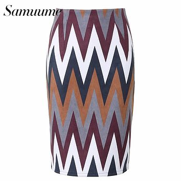 Samuume Vintage Multi Color Wave Shape Printed Midi Skirts Women 2017 High Waist Knee-Length Office Pencil Skirt Faldas A1608049