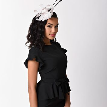 Ivory & Black Sinamay Tall Feather Fascinator Headband Hat
