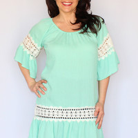 Mint Rayon Tunic/Dress with Crochet Lace Detail