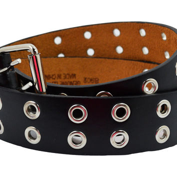 Punk Rock Black Two Row Grommet Holes Leather Belt