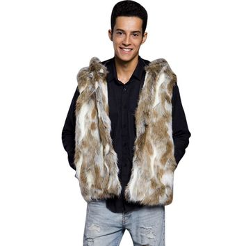 Men's Sleeveless Hoodie Top Pockets Hooded Coat Vest Hoody Jacket Overcoat High Quality Fashion Design Casual Solid Faux Fur