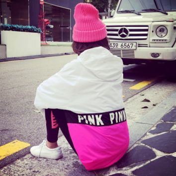 Autumn and winter new loose thin section hooded head sweater letters hit color casual jacket sweater