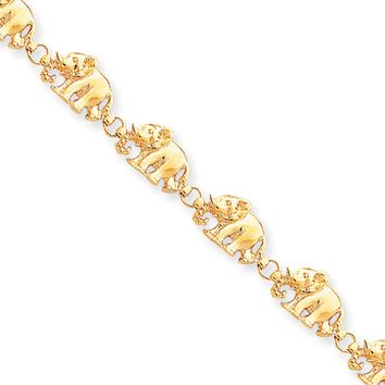 14k Yellow Gold Polished Elephant Bracelet - 7 Inch
