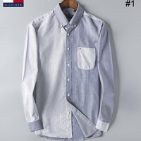 Tommy Hilfiger 2018 new men's color matching striped clothing Slim long-sleeved shirt #1