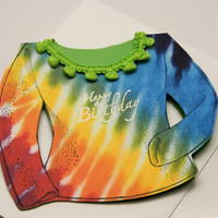 Handmade Greeting Card, Happy Birthday, Ladies Shirt, Tie Die, Embossed