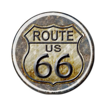 Smart Blonde Rusty Route 66 Novelty Metal Circular Sign C-525