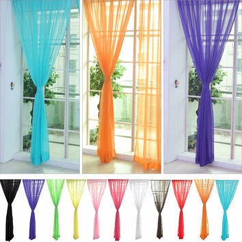 1Pc New Simple Curtains Modern Home Window Decoration Candy Color Sheer Voile Curtains for Living Room Single Panel #229315