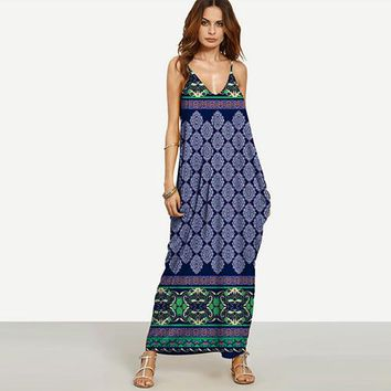 Women's Sexy Bohemian Maxi Dress With Spaghetti Straps.   Available in Eleven Different Colors and Patterns (see images).   Size Medium to 2XL.   ***FREE SHIPPING***