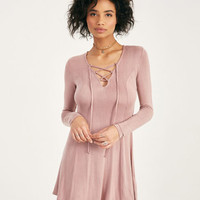 Long Sleeve Lace-Up Dress | Wet Seal