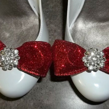 Glitter Bow Shoe Clips - pair - with sparkling rhinestones bridal wedding pageant clips for shoes
