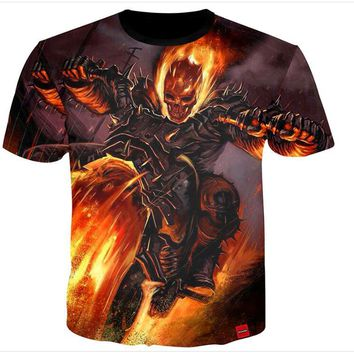 Skull Fire Bike Print 3D Print Both Side Hip Hop Short Sleeve Mens