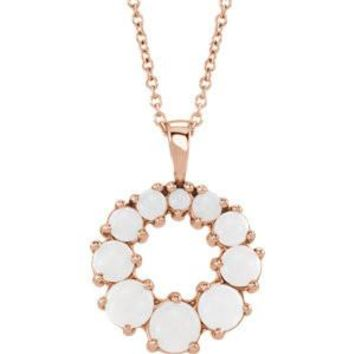 14K Rose Opal Halo-Style Necklace