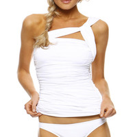 1 SOL SWIMWEAR | 1 Sol Swimwear Asymmetrical Tankini Top with Basic Brief