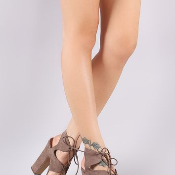 Bamboo Caged Lace Up Platform Chunky Heel