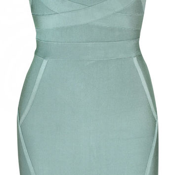 Clothing : Bandage Dresses : 'Magali' Teal V Front Body-shaper Bandage Dress