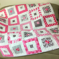 Pink and Gray Baby Girl Quilt, Baby Shower Gift,  Large Quilted Baby Blanket, Nursery Quilt, Quiltsy Handmade, Pink Grey Flannel Back Quilt