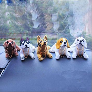 Car Styling Cute Bobblehead Dog Doll Car Ornament Nodding Dog Car Auto Dash Rocking Head Dog Car Interior Decoration Lovely Gift
