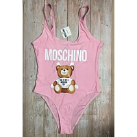MOSCHINO Summer Fashion New Letter Print Straps One Piece Bikini Swimsuit