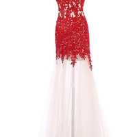 Sunvary Champagne and Red Mermaid Lace Prom Evening Dresses Bridesmaid Gowns US Size 2- Champagne and Red