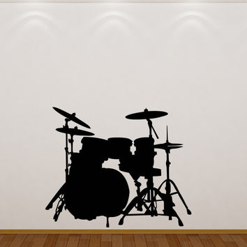 Drum set silhouette wall decal