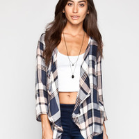 Living Doll Plaid Womens Wrap Grey  In Sizes