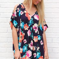 Forever Floral Tunic-Navy