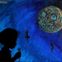 Abstract Blue Moon Painting, Fantasy Children Art, Night Sky, Unique Little Girl Bedroom Deco,Textured Painting