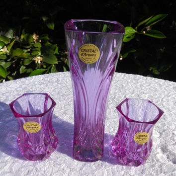 Vintage Alexandrite Neodymium Cristal D'Arques Crystal Vase and 2 Toothpick Holders Changes Color Depending on Light