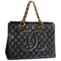 Pre-owned Chanel Black Caviar Grand Chain Tote Bag