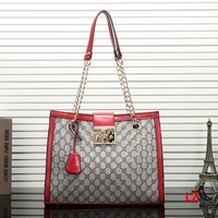 GUCCI Women Shopping Leather Satchel Shoulder Bag Tote Handbag Crossbody