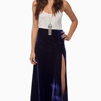 High Hopes Side Slit Velour Skirt