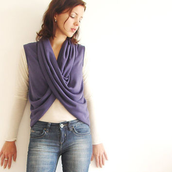 Versatile Womens Wrap Top Shrug in Purple