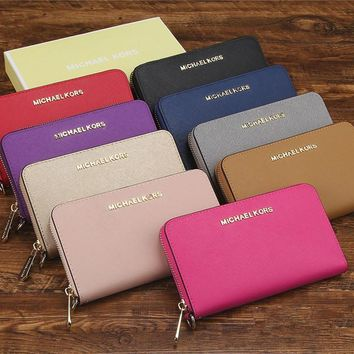 """Michael Kors"" Women MK Purse Simple Fashion Multifunction Zip Long Section Wallet Clutch"
