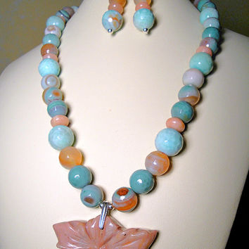 Blue Agate Necklace with Pink Opal Gemstones and Carved Pink Petrified Wood Pendant in Sterling Silver and Earring* Set