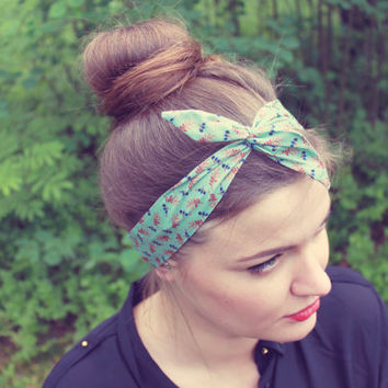 Mint Dolly Bow Hair Wrap. Peacock Wire Headband. Ditsy Print Twist Scarf. Pinup Headband.