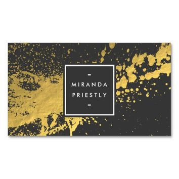 Modern Black Gold Splash Fashion Stylist Designer Business Card