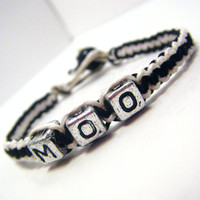 Cow Hemp Bracelet MOO Black and White