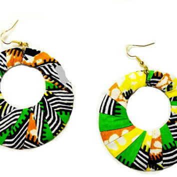 Valentine's Day Earrings, Yellow And Green African Fabric Earrings- African Jewelry - Handmade African Print Earrings,Ethnic tribal earrings