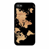 World Map On Wood Texture Print iPhone 5 Case