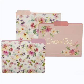 Dream Big Watercolor Floral File Folder Set